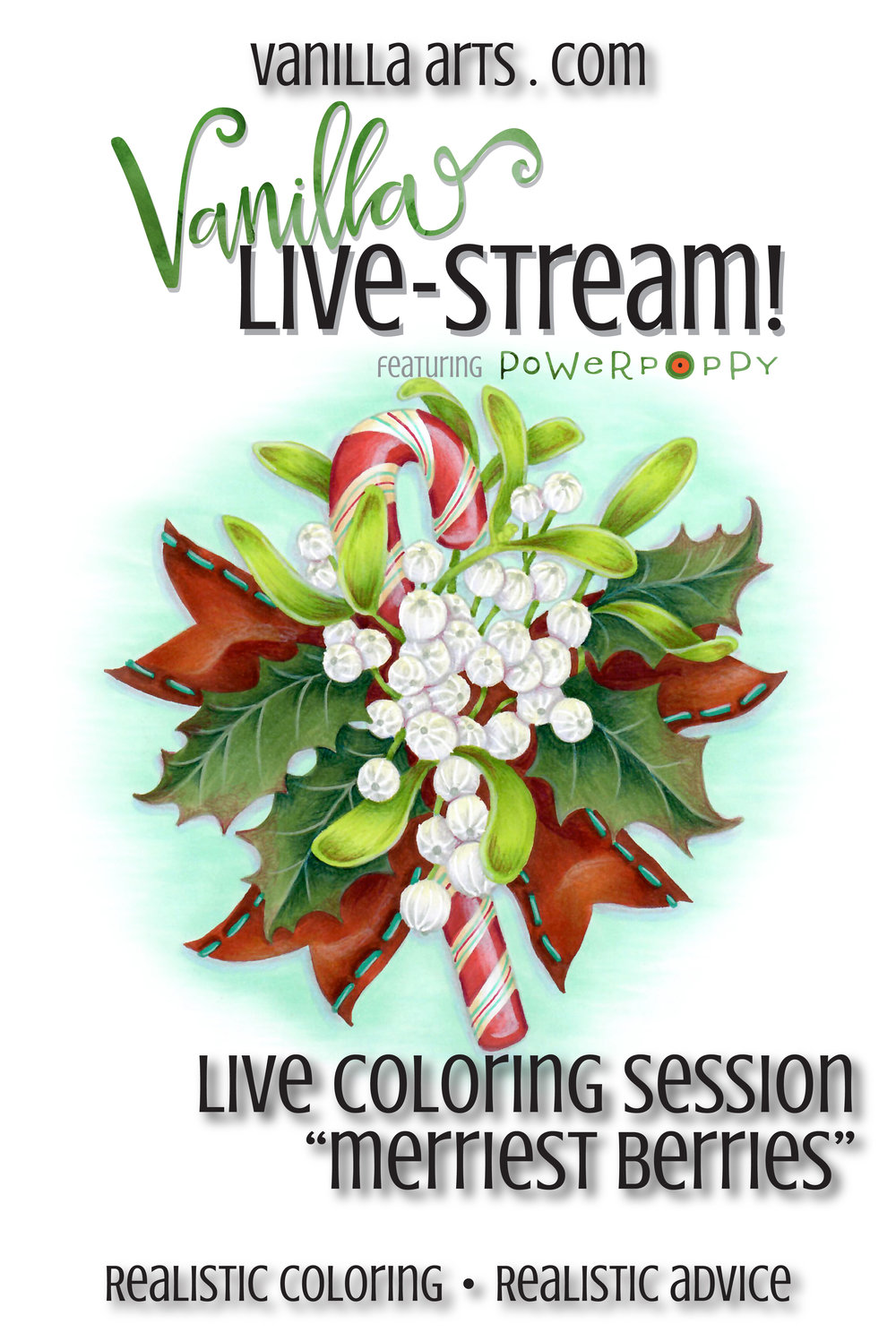Join Amy for online live coloring broadcasts. All the fun of her live & local classes but now online. Every month, a new Power Poppy challenge.  VanillaArts.com