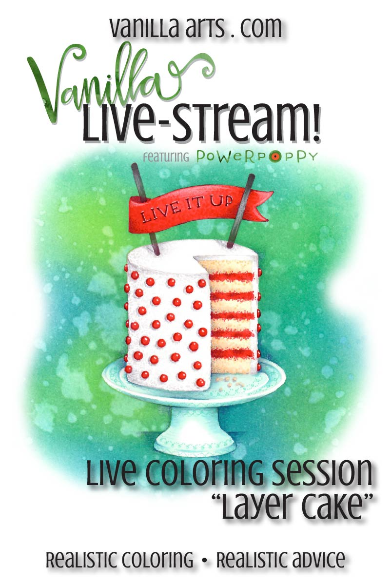Join Amy for online live coloring broadcasts. All the fun of her live & local classes but now online. Every month, a new Power Poppy challenge. | VanillaArts.com