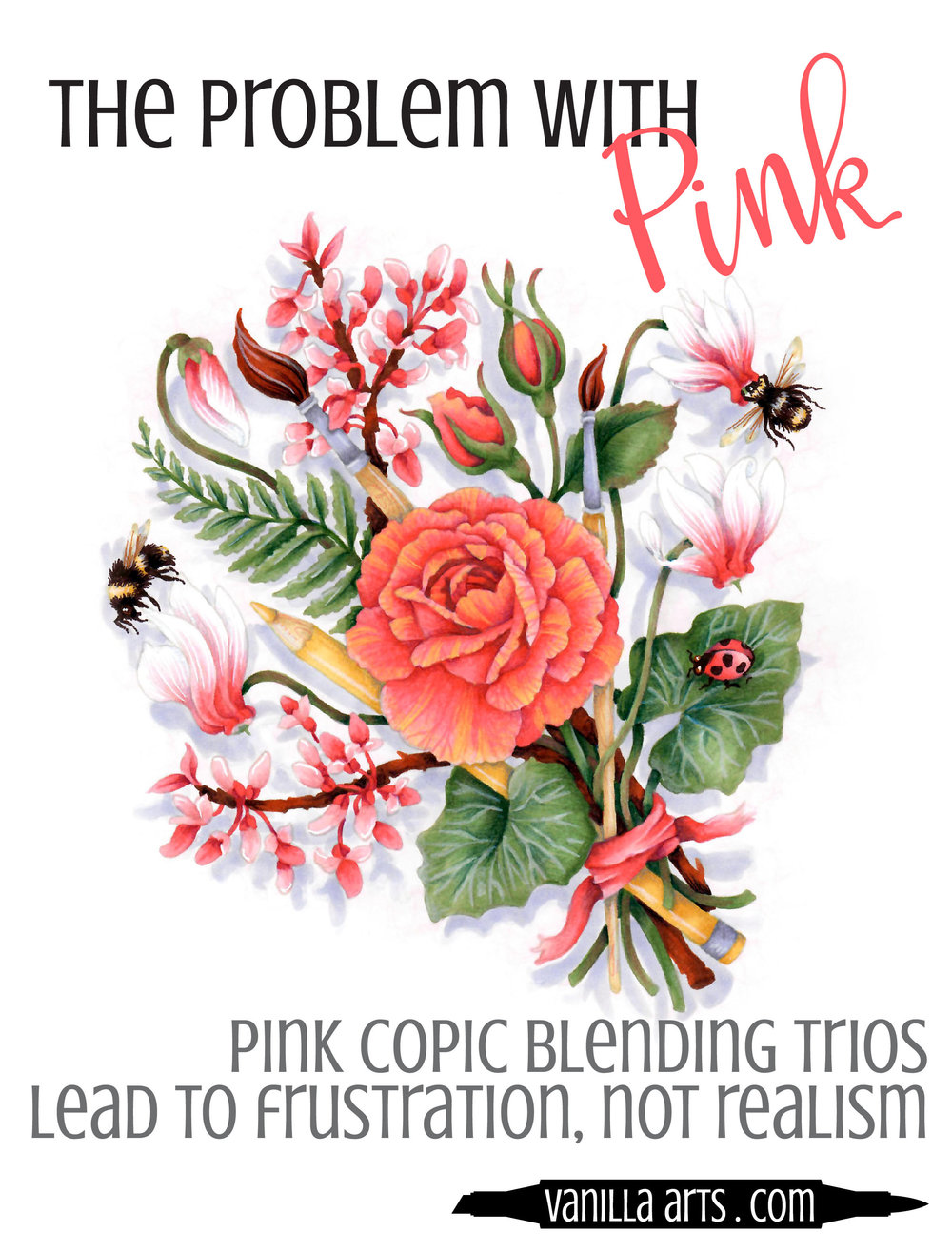 Pink Copic Blending Trios fail at realism. Why shading with red or hot pink markers disappoints you every time. | VanillaArts.com