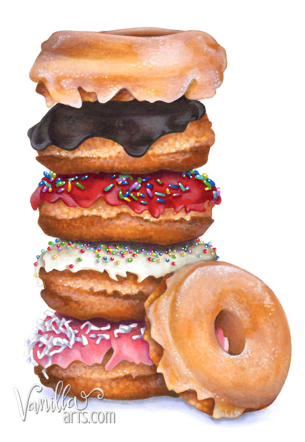 """Get your FREE copy of the  """"Doughnut Stack""""  digital stamp in April 2018. Vanilla Arts Co stamps are designed especially for use with Copic Markers, colored pencil, even watercolor. Join the Free Digi Club for a new stamp every month! 