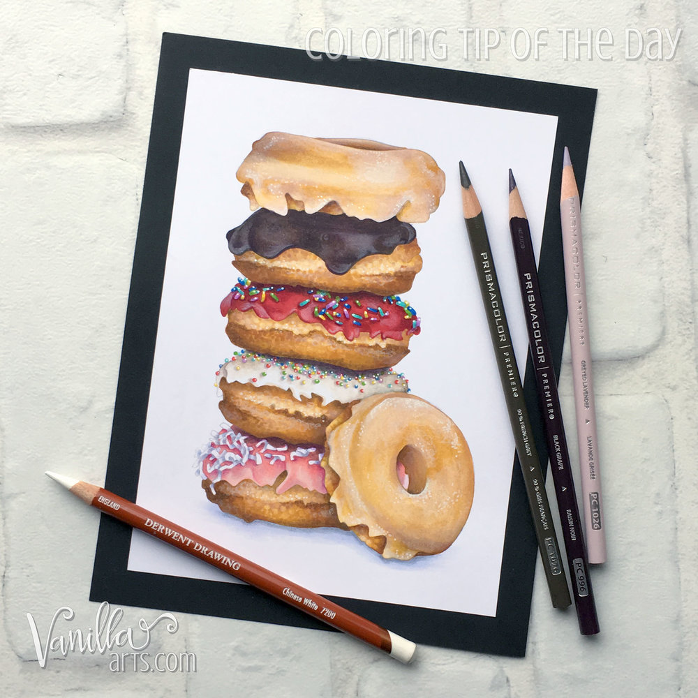 Doughnut Stack, an intermediate to advanced level realism challenge for Copic colorers. Learn to underpaint projects to maximize realism. | MarkerPainting.com