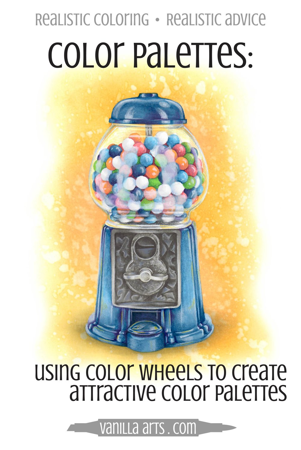 Get rid of that childish look! Learn to use a color wheel to pick mature color palettes for your adult coloring projects. FREE Copic Marker color wheel included! | VanillaArts.com