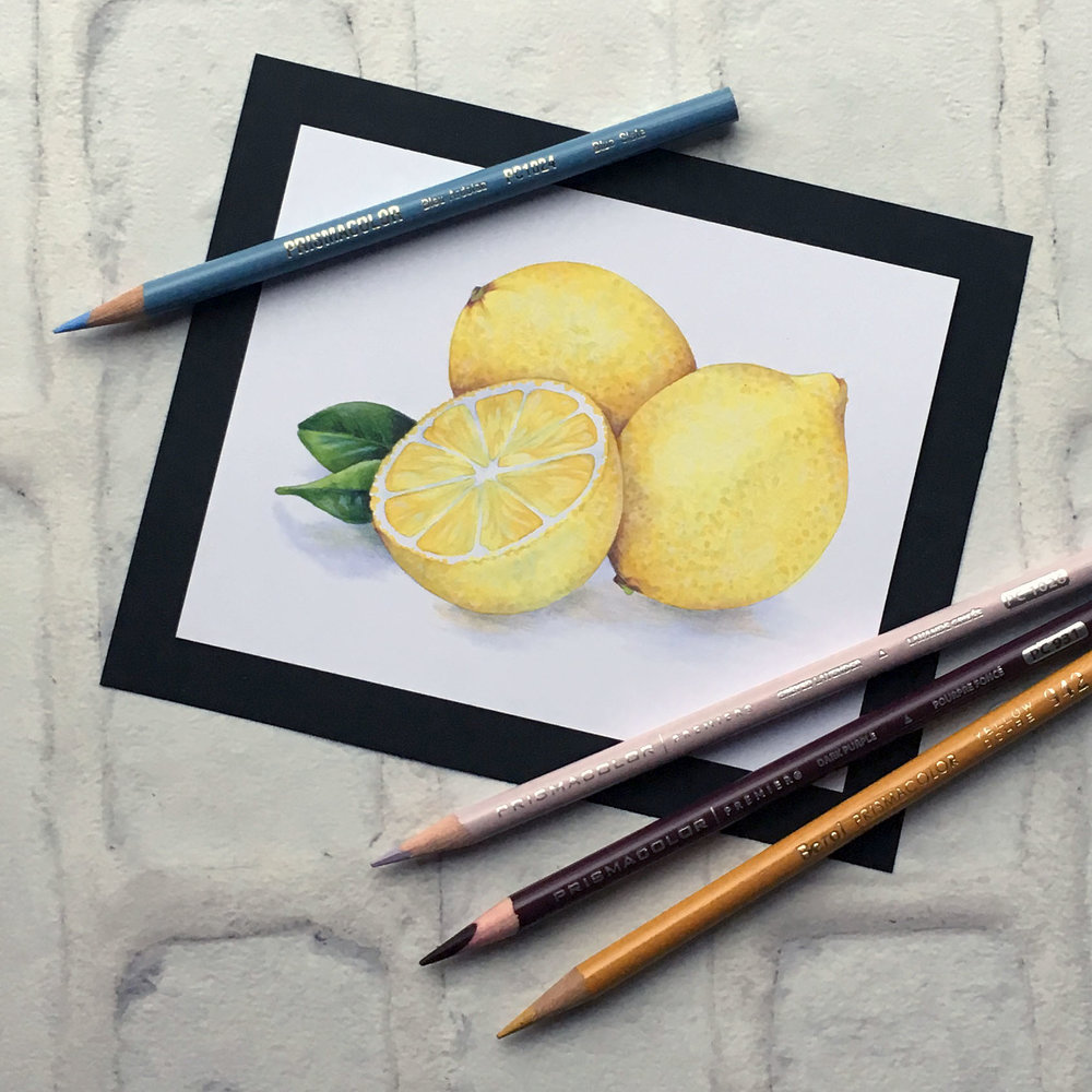 Lemon Zest, an intermediate to advanced level realism challenge for Copic colorers. Learn to modify the underpainting technique for yellows to maximize realism. | MarkerPainting.com