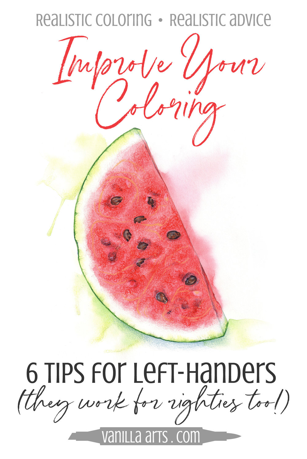 Normal techniques for Copic Marker or colored pencils do not always work for left handers. 6 tips for lefties to improve your coloring. | VanillaArts.com