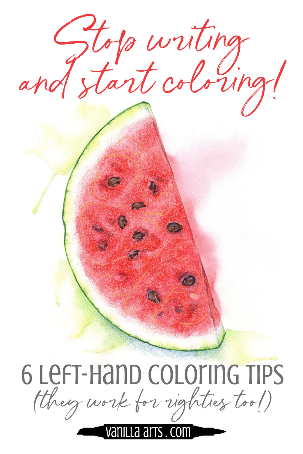 Coloring and writing are different skills. If you color using a writer's grip, you are not getting the most artistic strokes! Improve your Copic Marker and colored pencil coloring with 6 tips. | VanillaArts.com