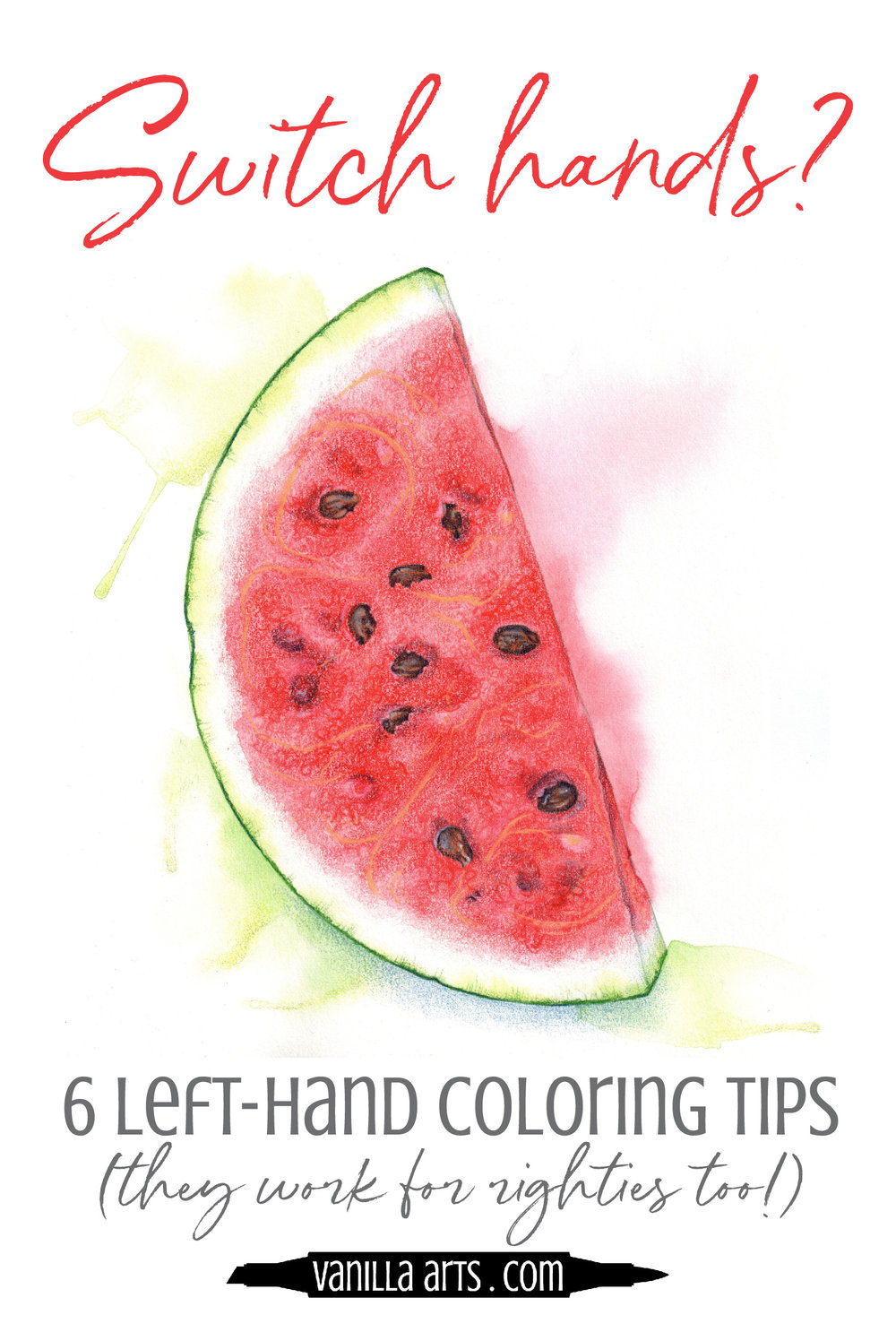 Left handed colorers can get some great organic looking results by switching to their right hand. It's a secret weapon for better coloring. Six tips to improve your Copic Marker and colored pencil coloring. | VanillaArts.com