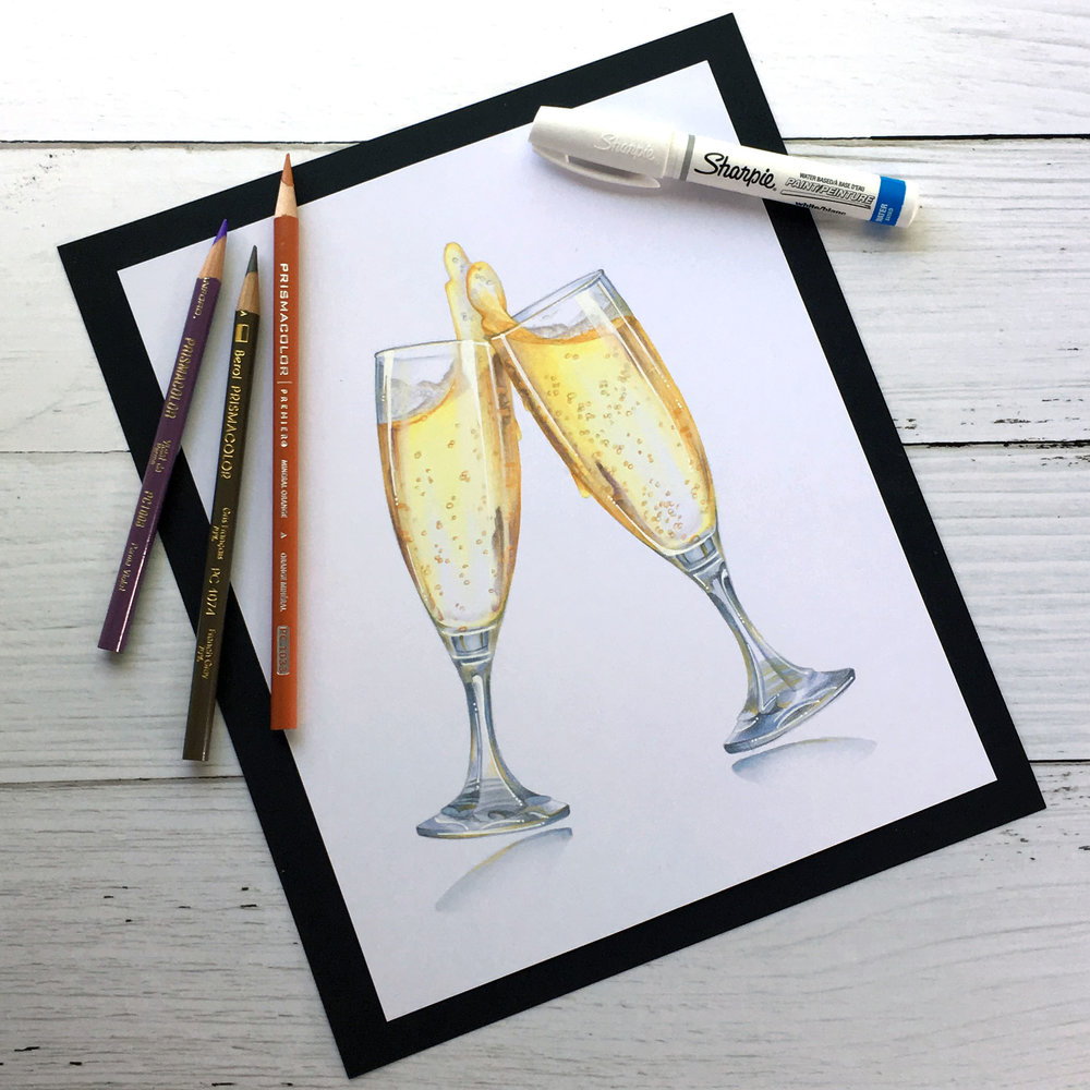 """Cheers!"", an intermediate to advanced level realism challenge for Copic colorers. Learn to color glass with transparency and realism. 