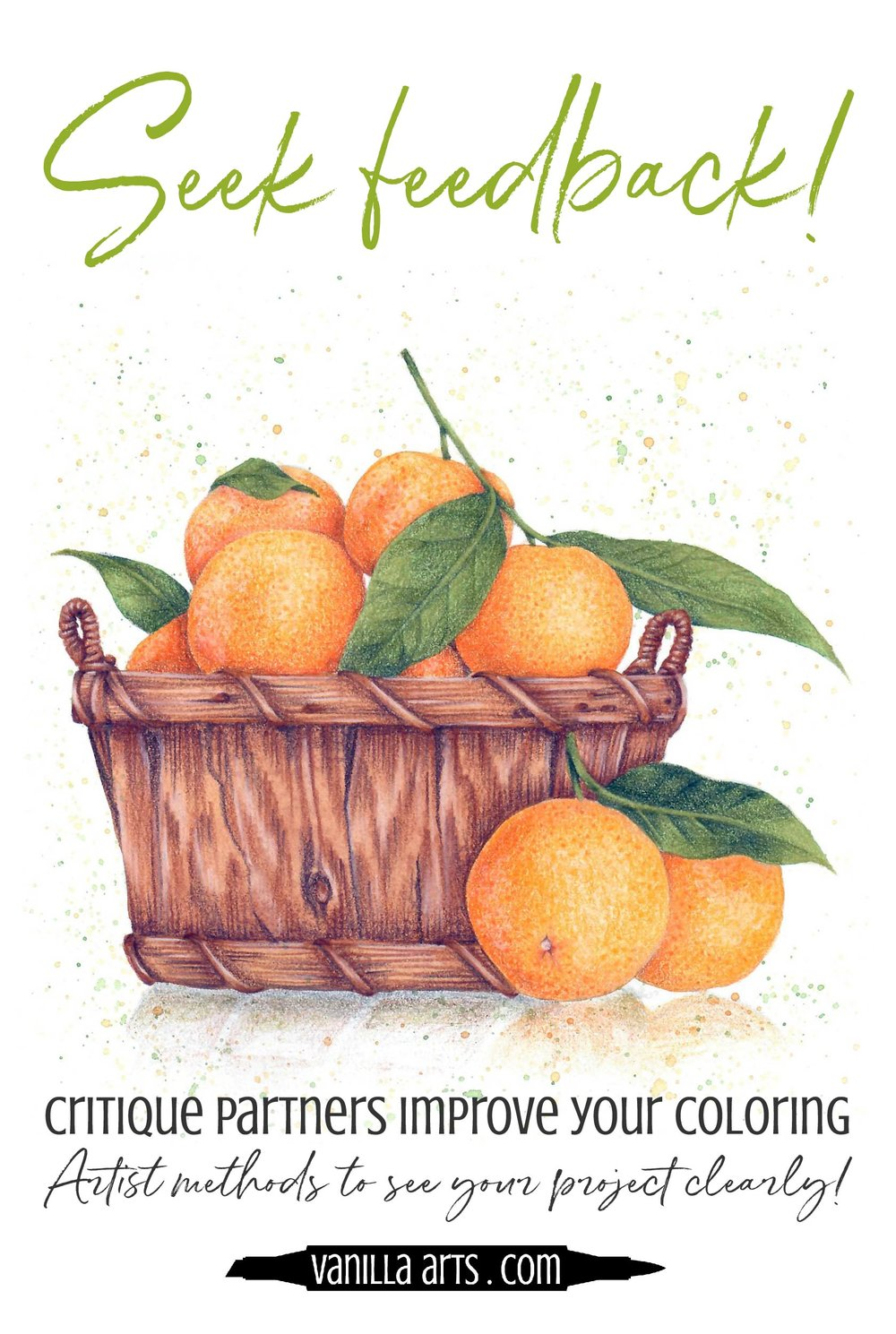 Honest feedback helps you improve your coloring but also encourages you to repeat what you do well. Learn artist's methods to see your Copic Marker and colored pencil projects clearly. | VanillaArts.com | #copic #coloredpencil #adultcoloring #realism