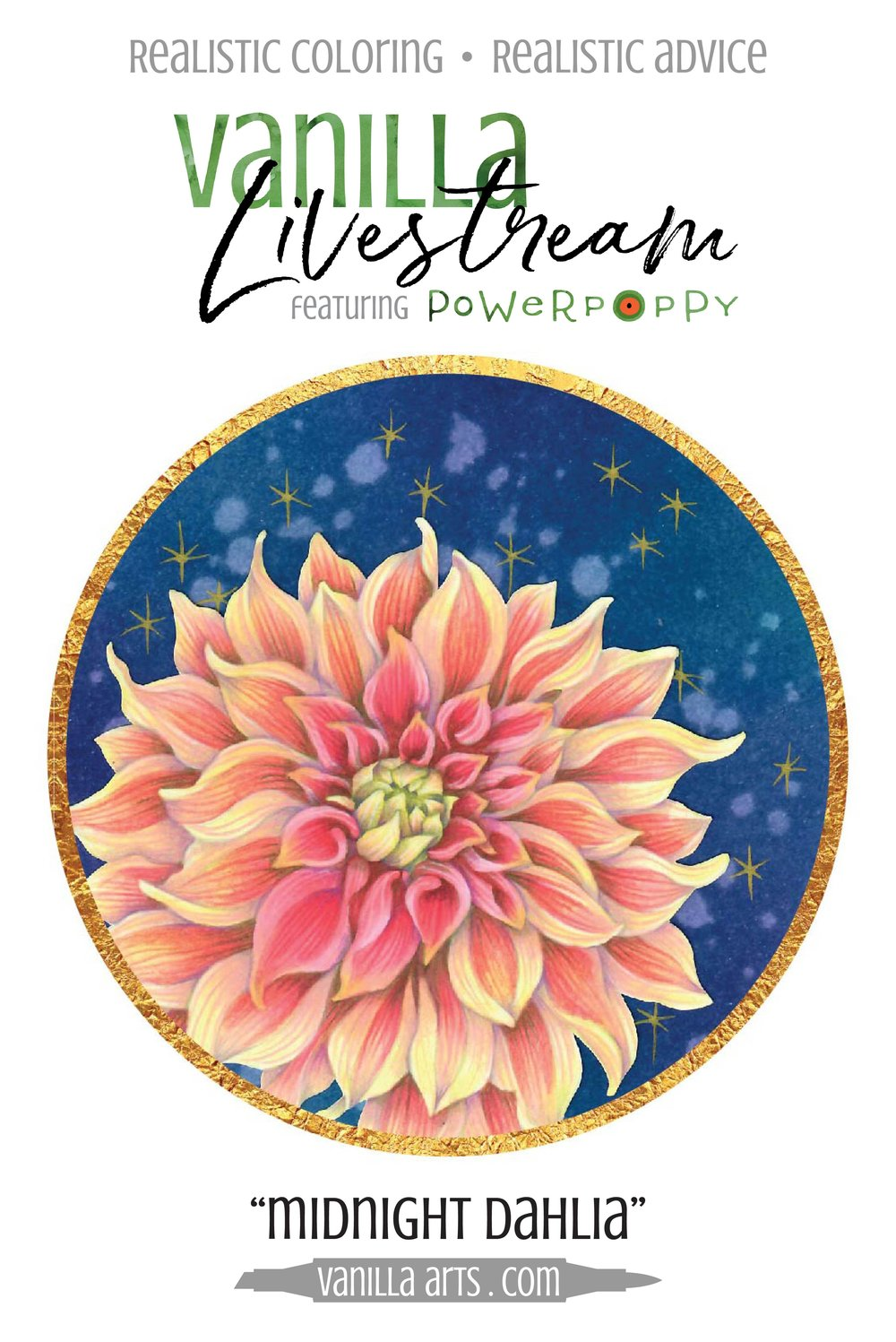 Vanilla Livestream online challenge lessons for Copic Markers and colored pencils. Learn to color dimensional flowers without creating muddy or murky depth. | VanillaArts.com | #copic #coloredpencil #coloringtips #adultcoloring #howtocolor