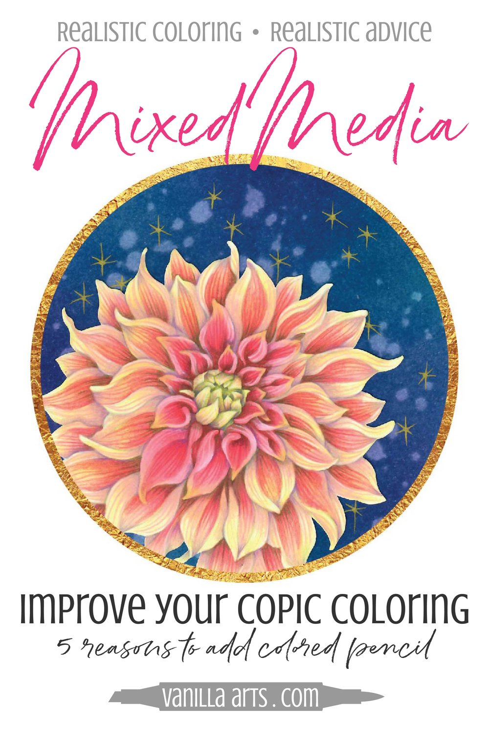 Want to add artistry and realism to your Copic Marker projects? 5 reasons to add colored pencils! | VanillaArts.com | #copic #coloredpencil #coloringtips #adultcoloring #howtocolor