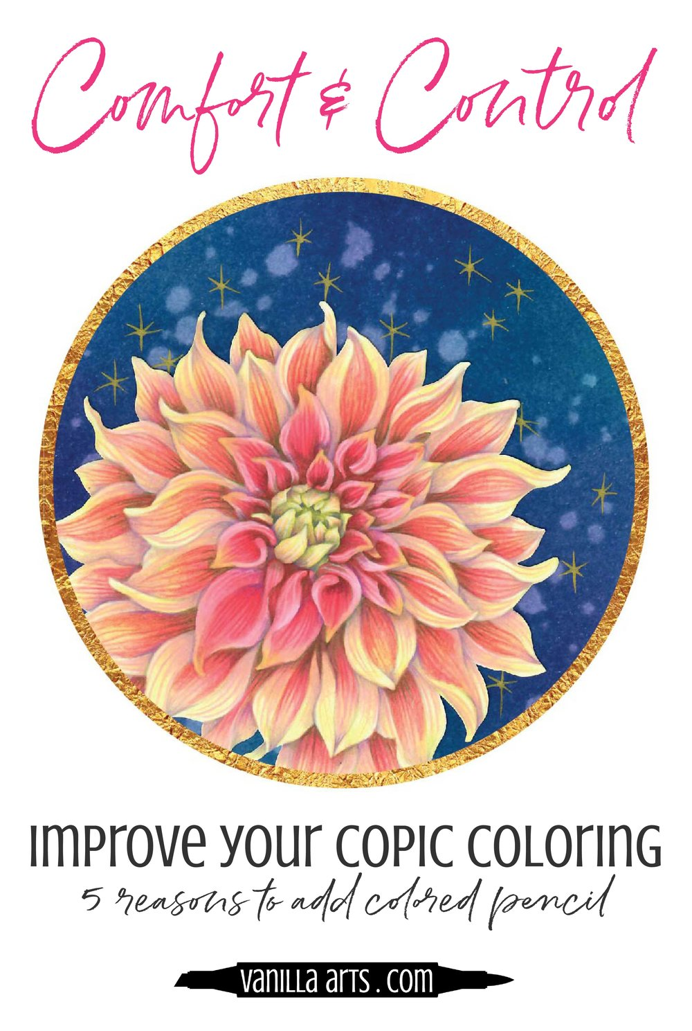 Copic Markers are amazing but they can't do everything. 5 Reasons to add colored pencil to your next marker project!| VanillaArts.com | #copic #coloredpencil #coloringtips #adultcoloring #howtocolor