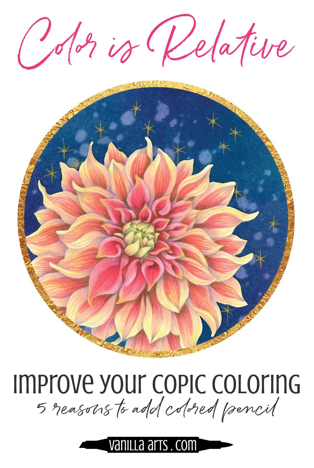Copic Markers are amazing but they can't do everything. 5 Reasons to add colored pencil to your next marker project! | VanillaArts.com | #copic #coloredpencil #coloringtips #adultcoloring #howtocolor