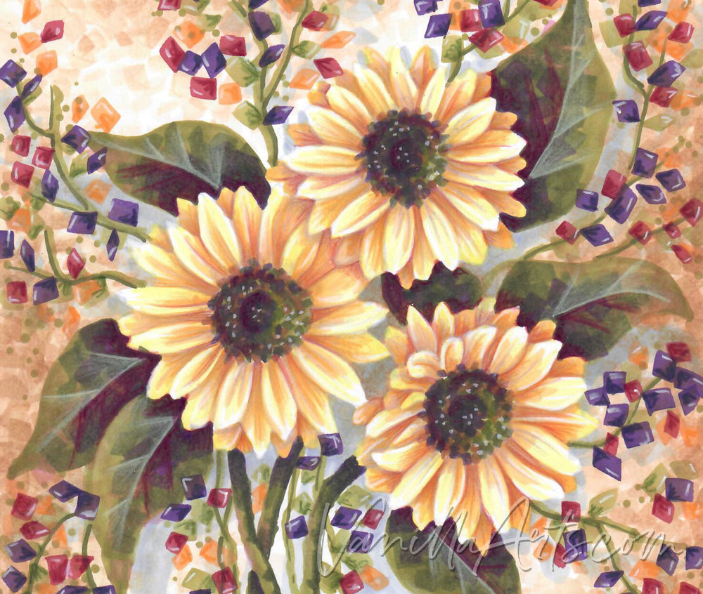 """Expressive Sunflower"" a lesson on using the Copic Chisel Nib to color with expression and emotion. 