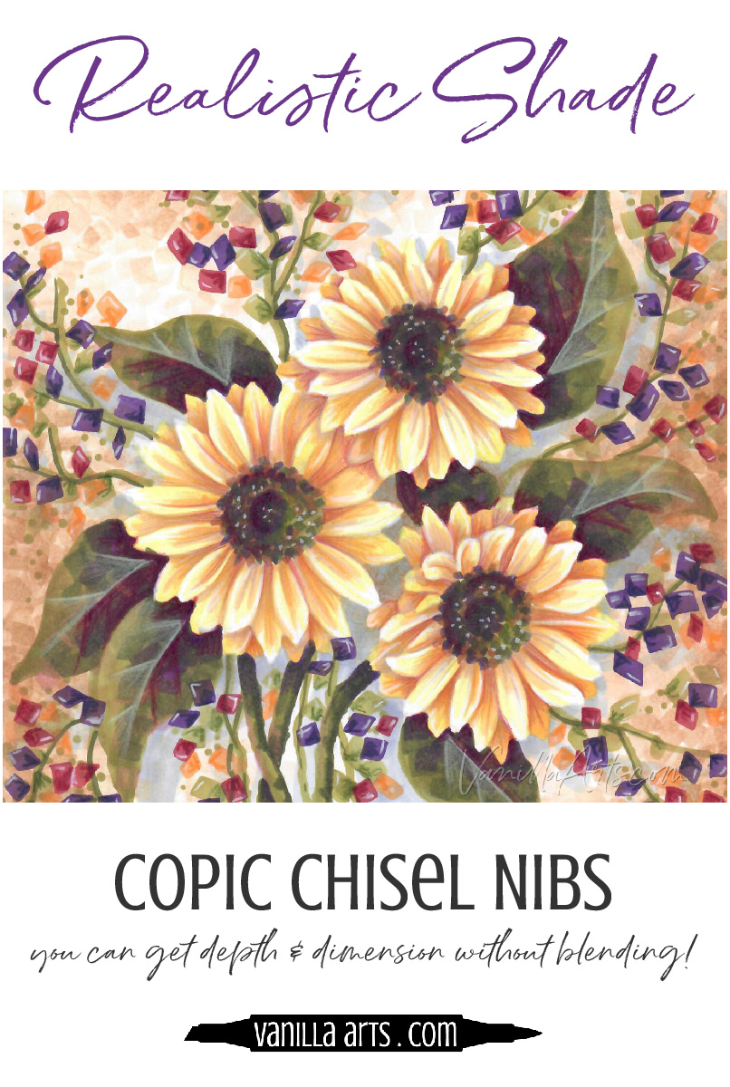 Are smooth Copic Marker blends the key to coloring with depth and realism? Learn to create depth and dimension without blending, using your chisel nib! | VanillaArts.com | #copic #coloredpencil #coloringtips #adultcoloring #howtocolor