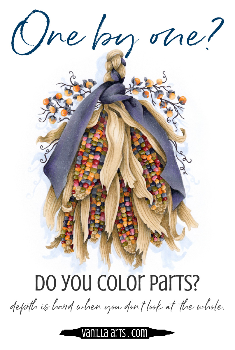 Do you make adult coloring harder than it has to be? Are you overthinking the Copic Marker coloring process and accidentally flattening the look of your projects? | VanillaArts.com | #copic #coloredpencil #coloringtips #adultcoloring #howtocolor