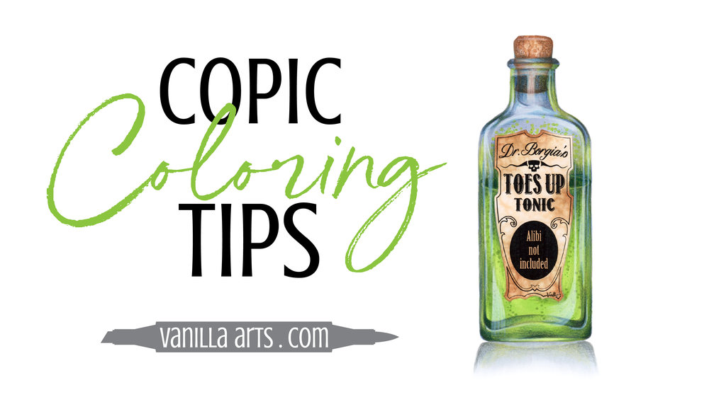 Copic Marker coloring and tips by Amy Shulke of Vanilla Arts Company. Advance your coloring and change the way you think about Copic Markers, colored pencils. You can color with realism! | VanillaArts.com | #copicmarker #coloredpencil #coloring #howtocolor #realisticcoloring