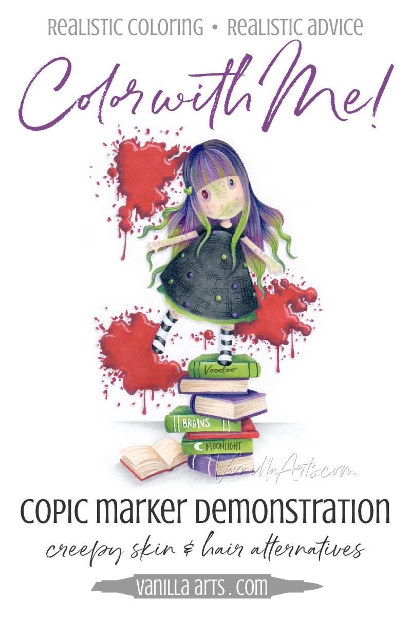 Coloring Demonstration: Cute Zombie Skin & Hair (Copic Markers ...
