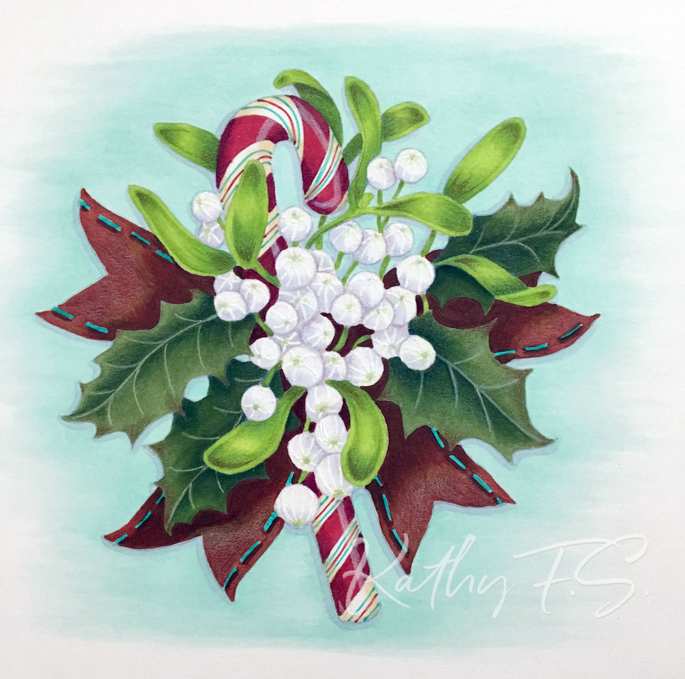 Use your Copic Marker or colored pencil coloring projects for more than cards! Make festive Christmas tableware with help from Kathy FS. | VanillaArts.com | #copicmarker #coloredpencil #realisticcoloring