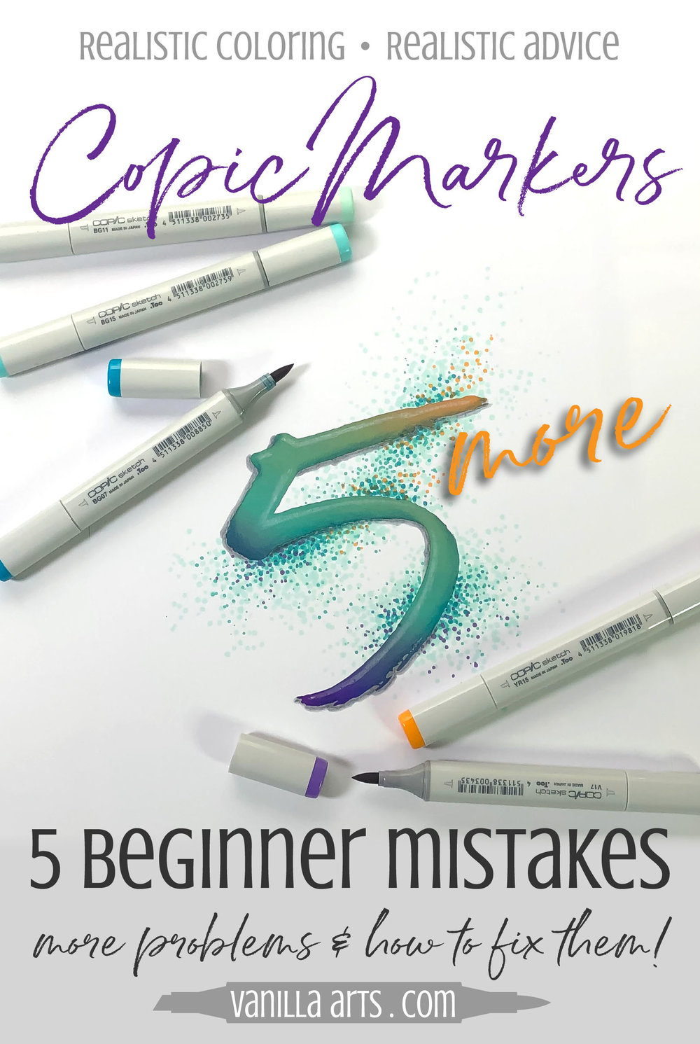 Improve your Copic Marker blending. Avoid these 5 mistakes beginner colorers make. Solve your blending problems to improve your artistry. | VanillaArts.com | #howtocolor #copicmarker #adultcoloring
