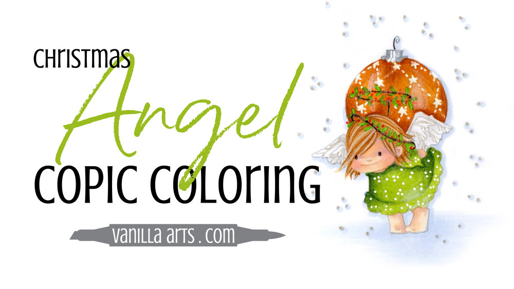 """FREE Copic Marker demonstration video. Tips for coloring simple skin and hair with Copics and colored pencils. Project uses StampingBella's """"Angel Squidgies, Ornament"""" stamp. 