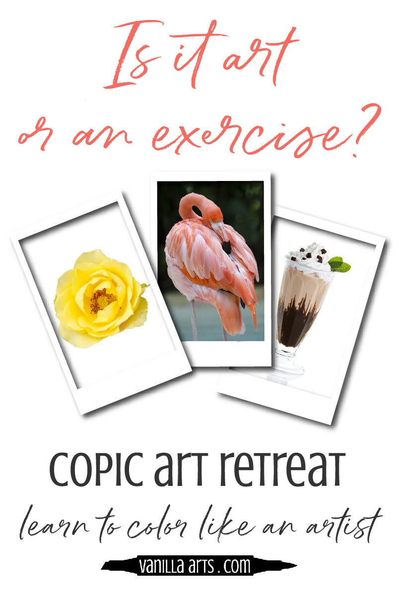 Join Amy Shulke of Vanilla Arts Company for a Copic Marker plus colored pencil artist retreat. Intermediate and advanced colorers. Improve your technique, add depth and realism. | VanillaArts.com | #copicmarker #adultcoloring #realisticcoloring