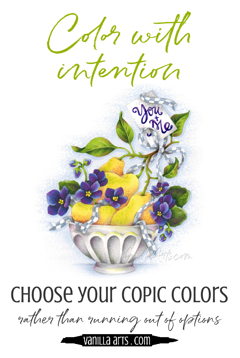 Great coloring is more than technique. Learn to apply color wisely to instantly improve the look of your Copic Marker projects! | VanillaArts.com | #copic #coloredpencil #coloringtips #adultcoloring #howtocolor