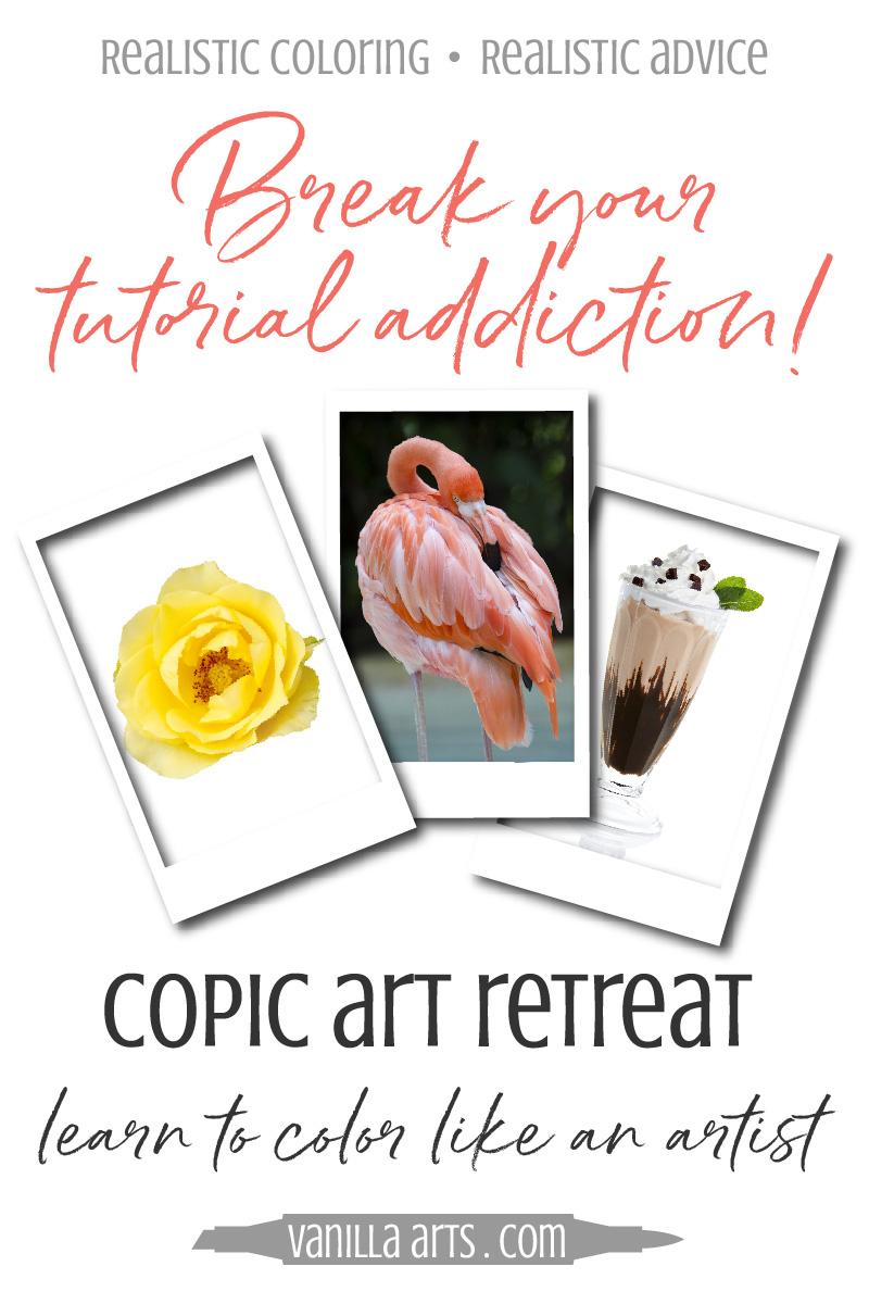 Vanilla Art Retreats provide a unique Copic Marker learning experience. You can't get this kind of personalized instruction from online classes! | VanillaArts.com| #copicmarker #coloredpencil #adultcoloring #realism
