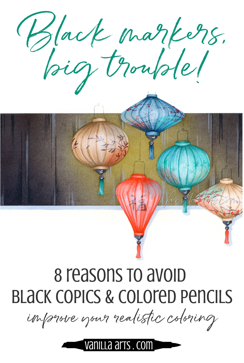 You're in danger every time you pick up a black marker, pen, or colored pencil! 9 reasons to avoid using black in your Copic Marker and colored pencil projects. | VanillaArts.com | #copicmarker #coloredpencil #coloring #howtocolor #realisticcol