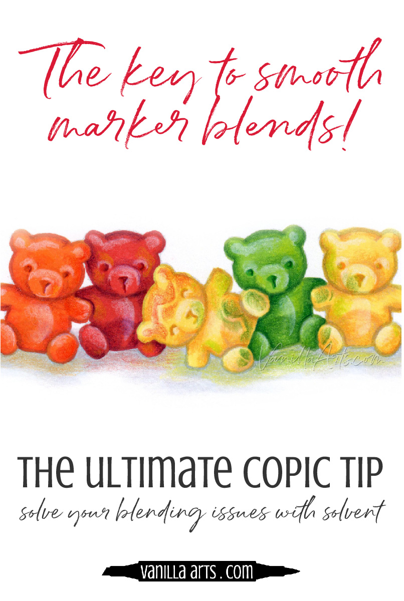 How to blend Copic Markers. Learn the #1, most important key to smooth blending: control the solvent to control the blend. | VanillaArts.com | #copic #coloredpencil #coloringtips #adultcoloring #howtocolor