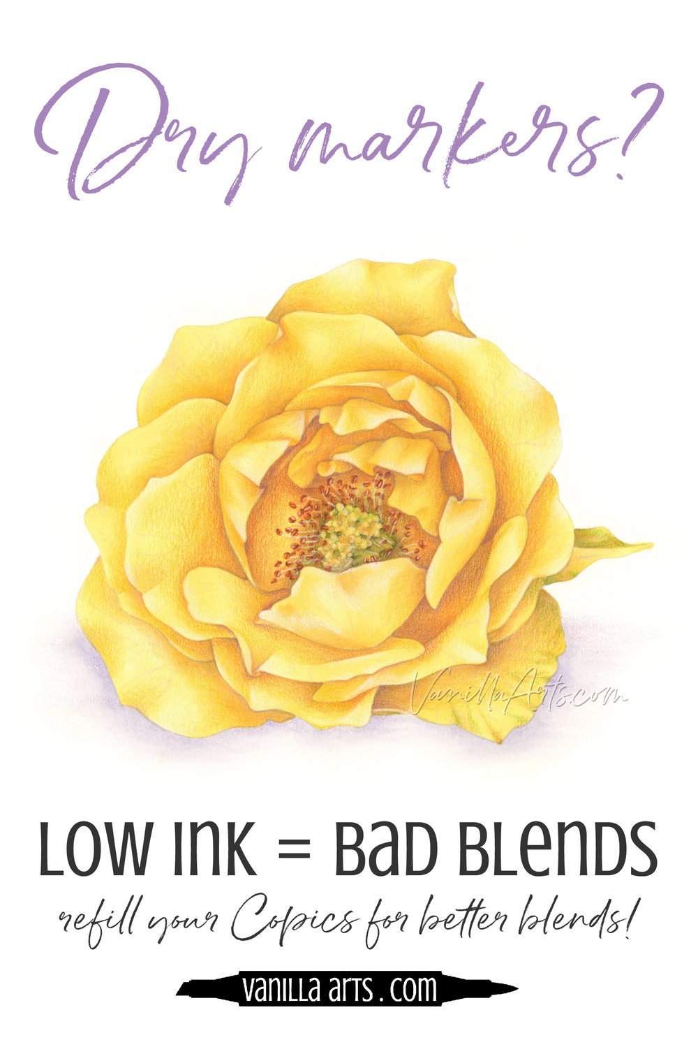 Blending Problems? It might not be your technique. See how your markers are dryer than you think!   VanillaArts.com   #copic #adultcoloring #howtocolor