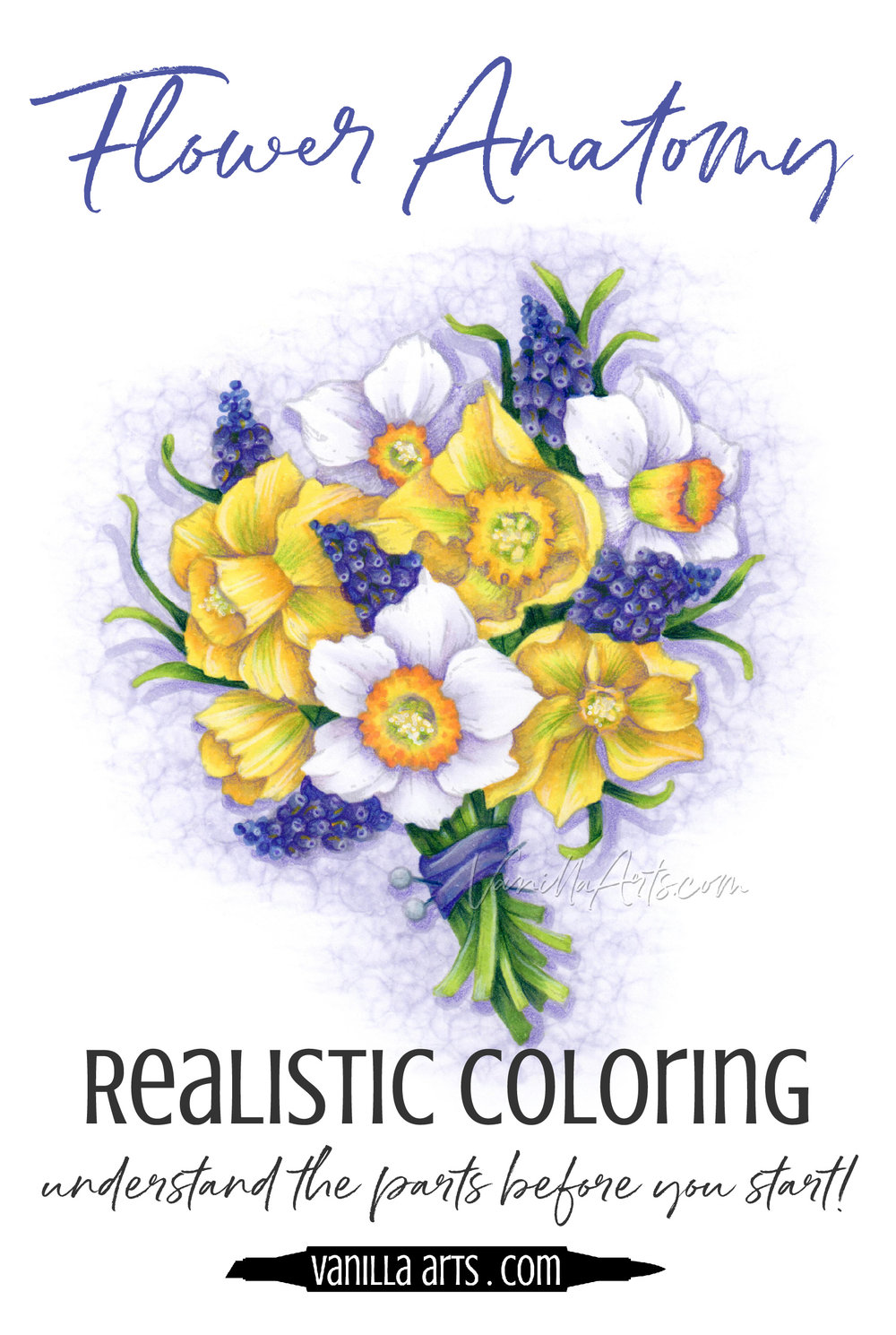 Do you dream about coloring realistic botanicals with Copic Markers? Research your flowers BEFORE you start coloring for added depth, dimension and realism.   VanillaArts.com   #copic #adultcoloring #howtocolor