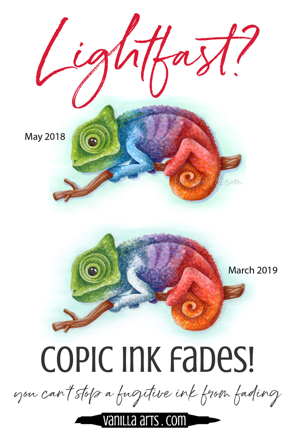 Copic Marker ink is NOT lightfast! Your projects will fade in as little as 6 months. Learn how to preserve your beautiful coloring projects.   VanillaArts.com   #copic #adultcoloring #howtocolor