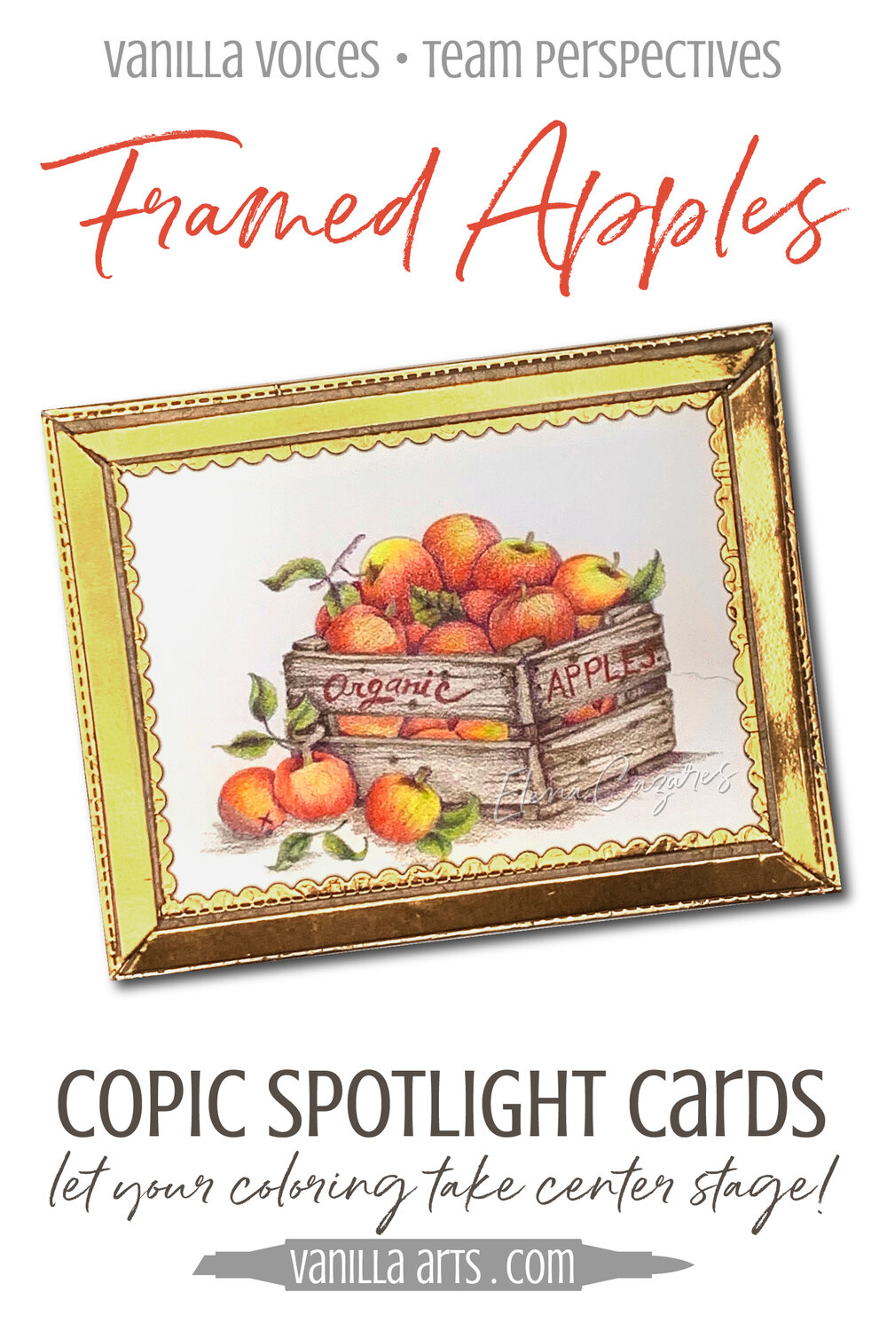 Spotlight Cards Showcase Your Advanced Copic Marker Coloring Framed Apples Vanilla Arts Co
