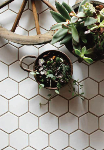 TL-34-W TILE DALTILE/CEPAC RETRO HEXAGON MOSAIC/CUSTOM WHITE & GREY MIX/MATTE BATHROOM FLOOR