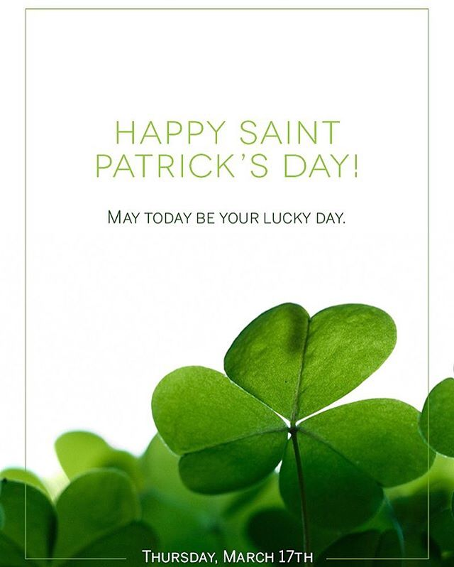 Wishing you all the luck today on this St. Patrick's Day!  #StPatricksDay #LuckyDay