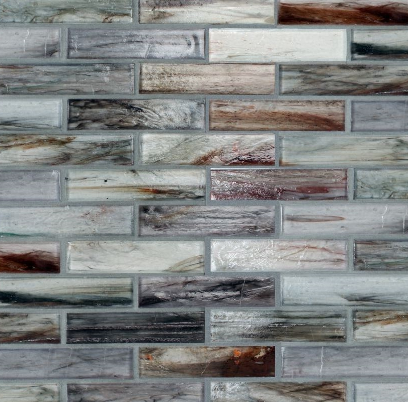Handcrafted semi-transparent glass mosaic at kitchen backsplash