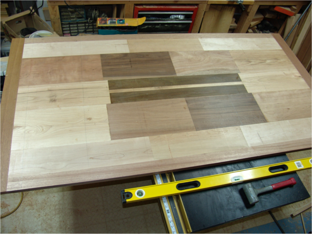 The top is assembled and ready to be oiled.