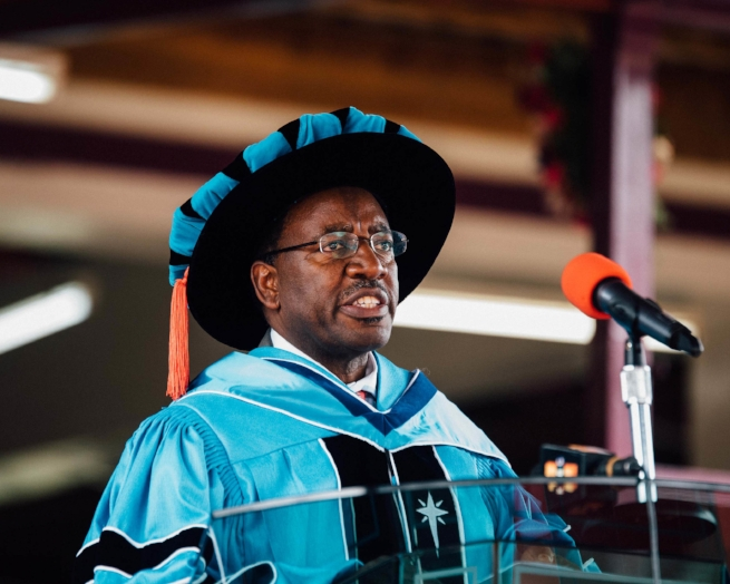 Dr. Timothy Wachira gave a compelling commencement speech at the 2016 June graduation ceremony.