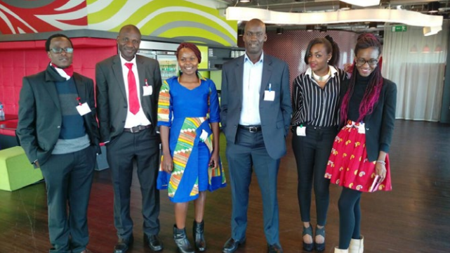 Students Jeff, Moses, Evelyn, Lecturer Moriasi Maranga, Roselinda, and Sharone traveled to Dublin, Ireland to accept their awards for winning the international Google Online Marketing Challenge.