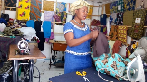 Noella teaches women versatile, employable skills like sewing, cooking, and how to create a resume.