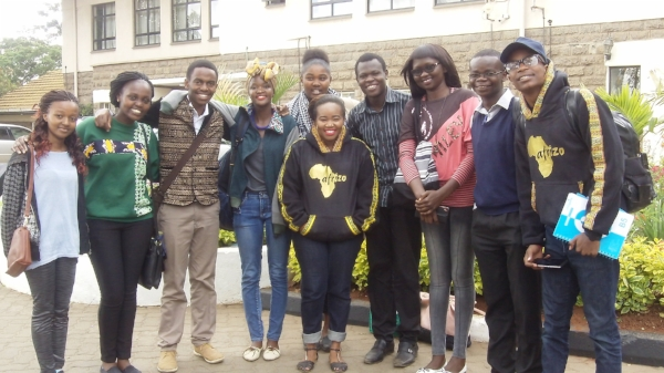 Afrizo met with Thomas (fourth from right) and other scholarship recipients prior to leaving for their U.S. tour.
