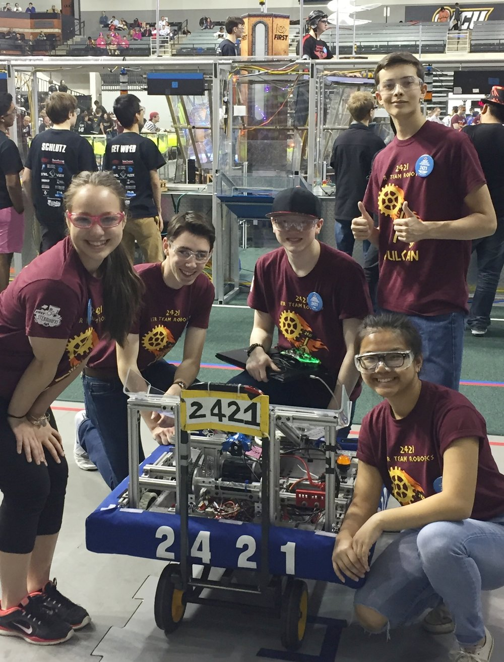 Ready to take the field at the FIRST 2017 Chesapeake District Championship, which was held April 5-8 at Virginia Commonwealth University, Richmond, VA. The top 12 ranked teams were eligible to attend the World Championship—and 2421 RTR Team Robotics got the 12th slot! The 2017 team was sponsored by NASA, Boeing, Federal Acquisition Strategies, BAE Systems, Springfield Plaza LLC, SoftTech, and the Air Force Officers' Spouses Club of Washington, DC.