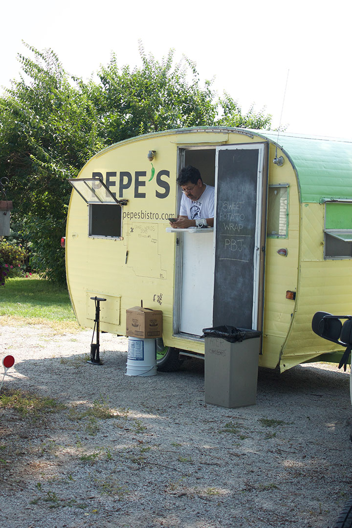 Pepe chilling in his trailer, waiting for the rush!!
