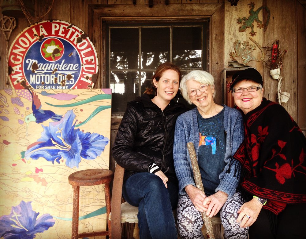 Outside Carol's art studio with Carol (middle) and Alice