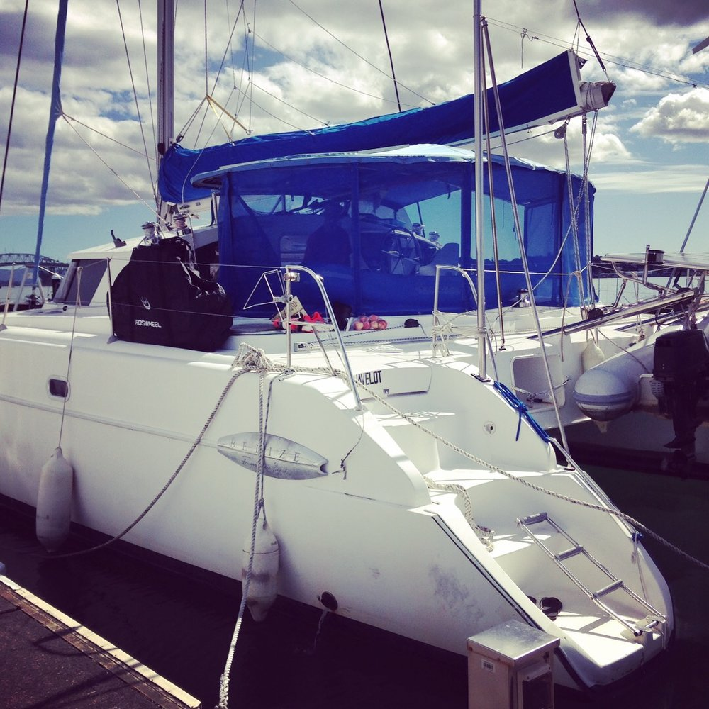Sailboat in Auckland Harbor, New Zealand. Thank you  Rob and family !
