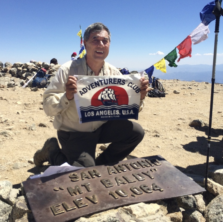 The Adventurers' Club of Los Angeles member, Shane Berry, on top of Mt. Baldy on his 70th Birthday!