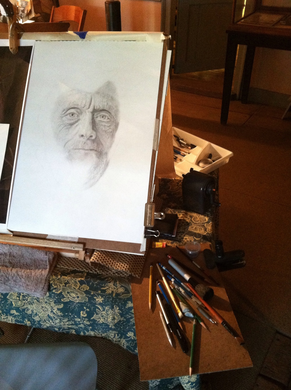 Open studio WIP portrait of Bruce Davidson at the Dyckman Farmhouse Museum