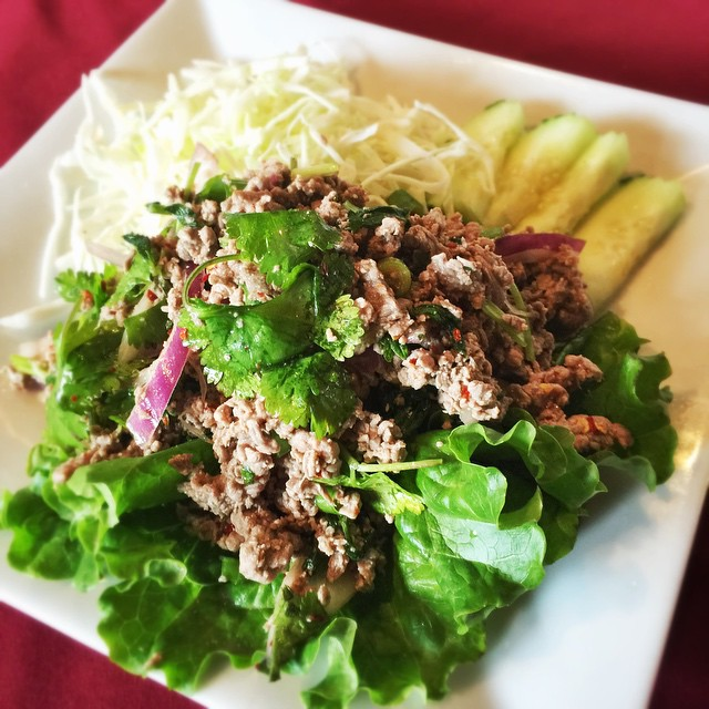Beef Laab, minced beef tossed with fresh mint, red onions, dried chili, scallions, cilantro and lime, served with fresh cabbage on the side. #waiwai #waiwaitp #waiwaiop #overlandpark #kansas #kansascity #kc #ks #food #foodporn #instakc #instafood #reppinkc #thai #thaifood #laab