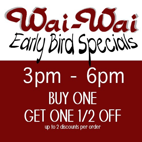 Early Bird Dinner Specials for our beloved customers! This month from 3pm through 6pm, buy one entree and get the second entree half off! #delicious #thaifood #thai #foodkc #food #waiwai #waiwaiop #waiwaitp #instakc #instafood #kc #kcmo #kansas #kansascity
