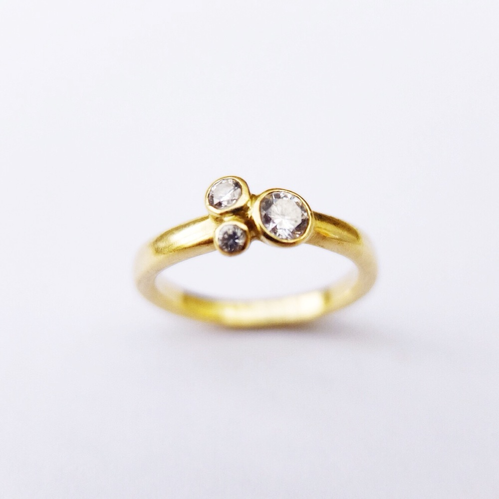 Three Stone Diamond and 18ct Yellow Gold Engagement Ring